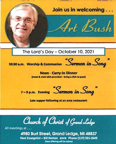 """Information for """"Sermon in Song"""" with Art Bush On October 10, 2021"""