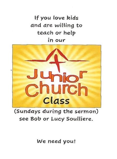 Invitation to help or teach Junior Church Class