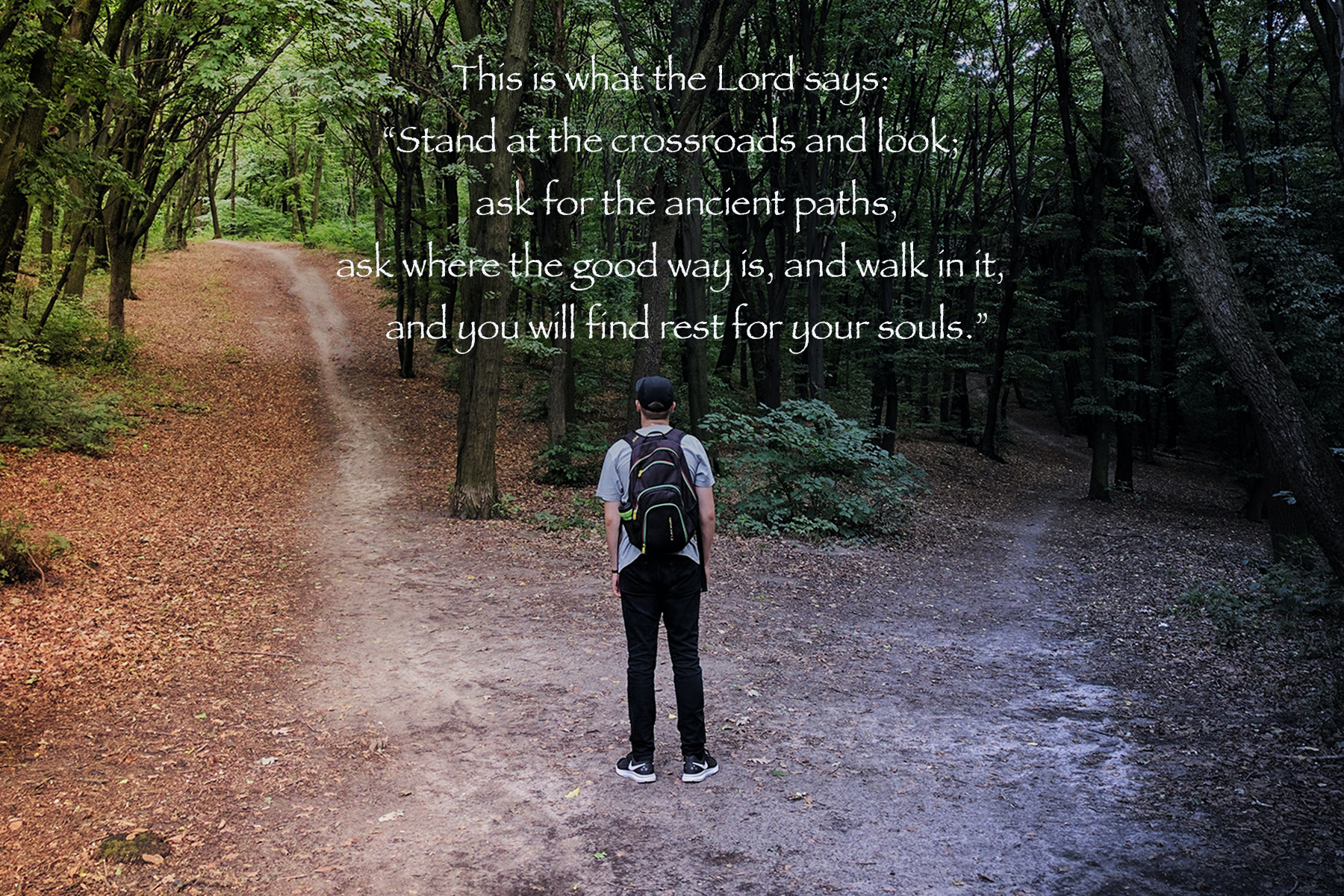 """This is what the Lord says:  """"Stand at the crossroads and look;     ask for the ancient paths, ask where the good way is, and walk in it,     and you will find rest for your souls."""